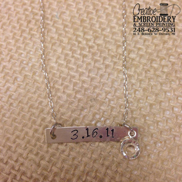 Date Bar necklace example