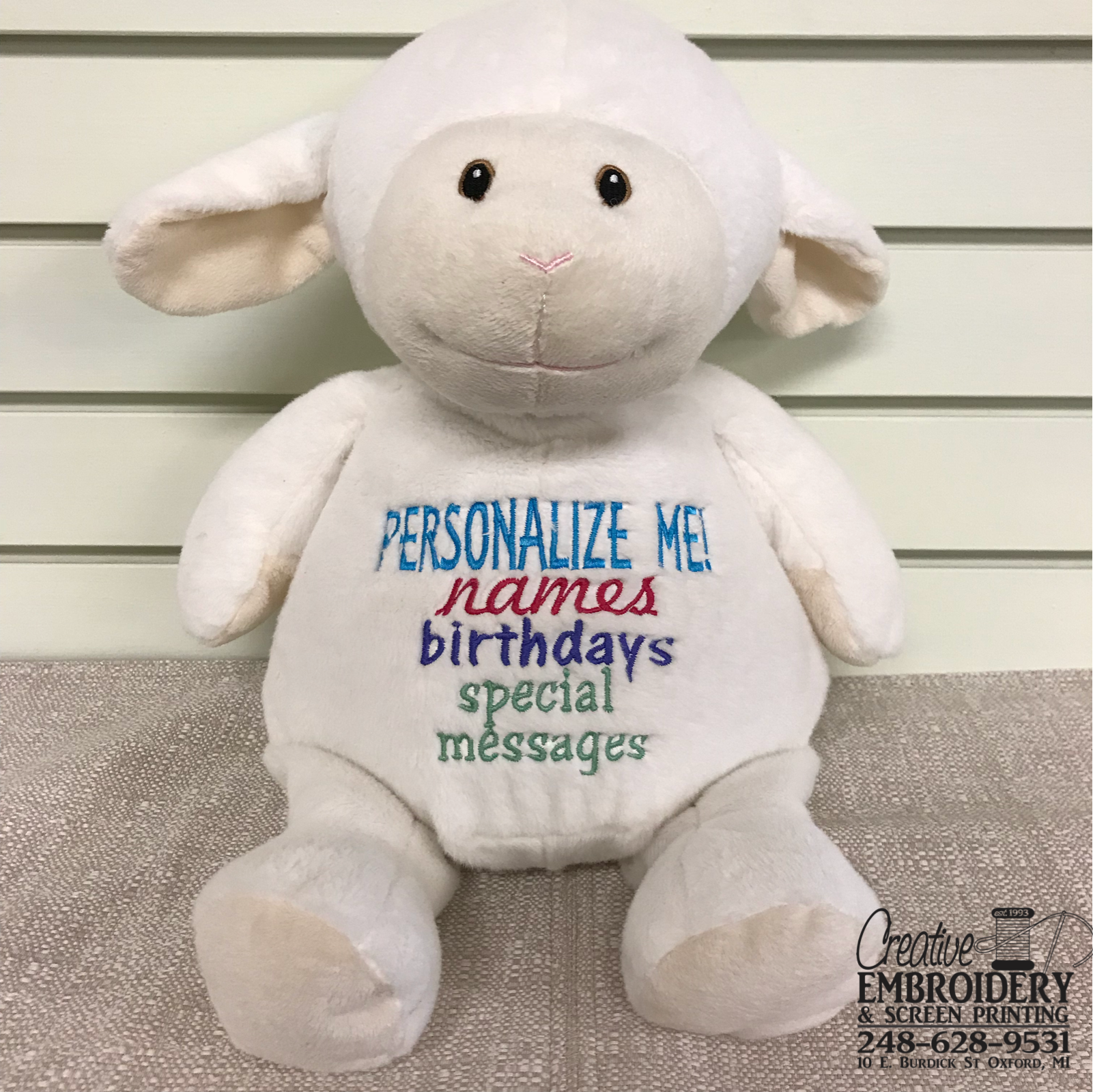 White Lamb Stuffed Animal Creative Embroidery