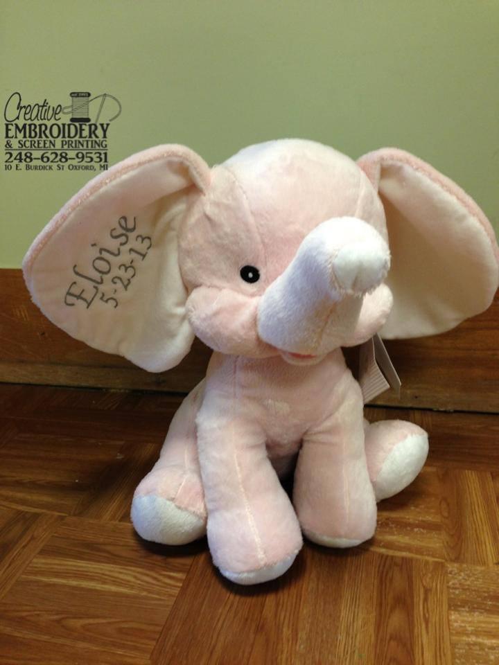 Pink Elephant Stuffed Animal Creative Embroidery