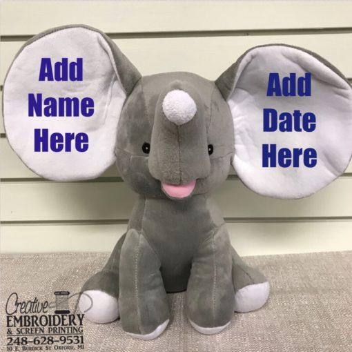Gray Elephant Stuffed Animal Creative Embroidery
