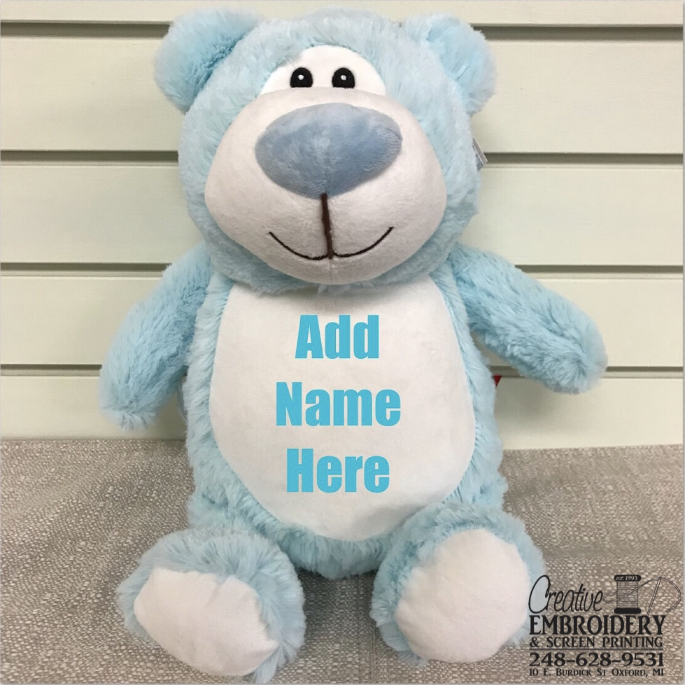 Blue Bear Stuffed Animal Creative Embroidery